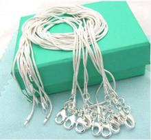 5pcs/lot (16 18 20 22 24 inches) Fashion Jewelry Silver Chains 1mm Snake Chain Necklace Jewelry Fits for Charm Pendant(China)