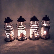 Candle Holders Vintage Iron Lighthouse House Candlestick Candelabrum Candle Holder Stand For Home Decoration ZH01586