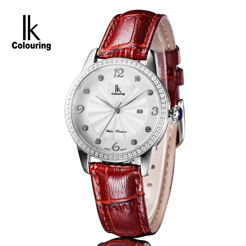 Fashion IK Coloring Womens Relogio Feminino Day Quartz Watches Waterproof Wristwatch Orignial Box Free Ship<br>