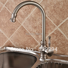 Kitchen faucet,Nickel finished sink mixer bar water tap.360 degree roating long neck water tap.Hot&Cold kitchen faucet K-001(China)