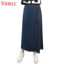 2017 New Spring Autumn female slim hip jeans skirt women Fashion summer cotton denim skirt sexy solid jeans Long skirt A813