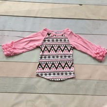 Fall baby girls full sleeve cotton icing boutique football season pink Aztec raglans ruffles top shirts clothes active kids wear