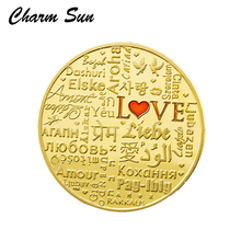 2017 Love Gold Coins halloween gift Commemorative Coins Collection Coin christmas decorations for home(China)