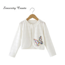 White Baby Cardigan Thin Cotton Sequins Lace Baby Girl Jacket Coat For 2 3 4 Years Baby Girl Clothes Spring Summer KC-1628