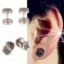 Fashionable And Classic 1Pair Young Man Special Rebel Punk Style Dumbbell Individuality Steel Earring Ear-0466