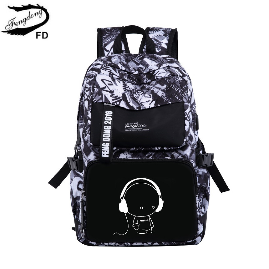 FengDong fashion black and white graffiti school backpack for girls female cute cartoon bag women travel bags laptop bag 15.6<br>