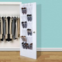 24 Pockets Convenient Clear Over Door Hanging Shoe Rack Hanger Shoes Storage Tidy Organizer Hot Sale