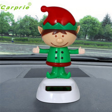 Dropship Hot Christmas hat Dolls Solar Powered Dancing Christmas Swinging Animated Bobble Dancer Toy Car Decor Aug 18(China)