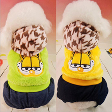 2017 Autumn Winter Warm Pet Dogs Clothes Cartoon Garfield Dog Coats Four Feet Dog Coats Size XS-L For Small and Large Dogs