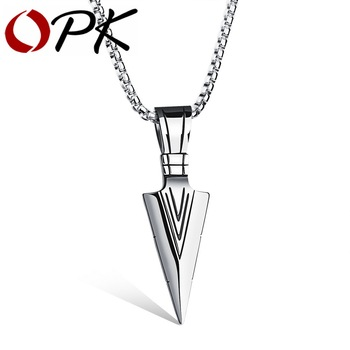 OPK Arrow Design Pendant Trendy Men Necklace With Box Link Chain 316L Steel  Jewelry Accessories GX1070