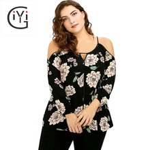 Buy GIYI Plus Size 5XL Keyhole Cold Shoulder Floral print Blouse shirt women clothing long sleeve tops autumn fall 2017 sexy blusas for $12.98 in AliExpress store