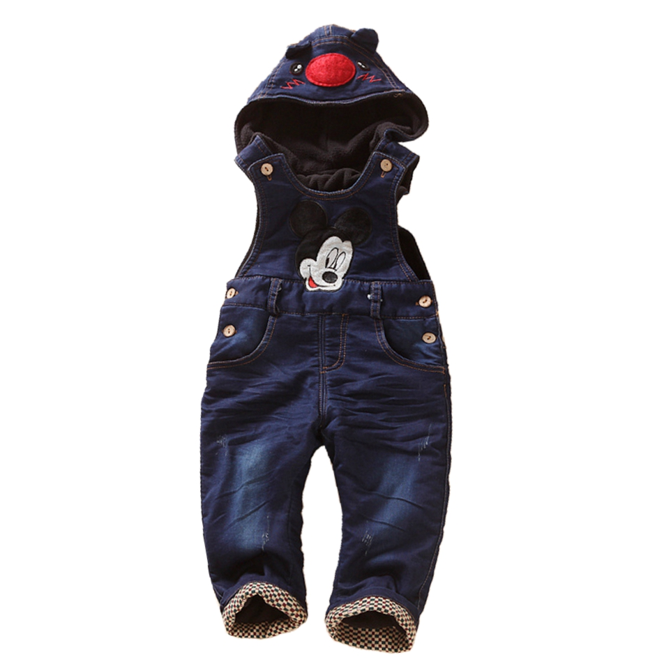 9m- 4Years Winter Warm Velvet Jeans Overalls Micky toddler Hooded Overalls Infant Long Pants Baby Girls Boys jumpsuit Rompers<br><br>Aliexpress