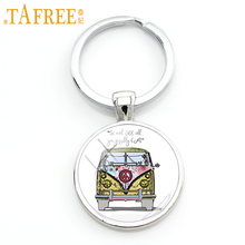 TAFREE exquisite handmade glass gem Hippie Peace Sign Van Bus men keychain high quality pendant car key chain ring jewelry CT106(China)