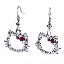 2015 New Free Shipping Fashion Cute Hello Kitty earrings female Girl dangle drop earring charm love Cat Crystal Heart