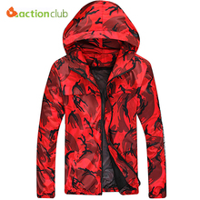 ACTIONCLUB Spring And Fall Mens Hooded Camouflage Jacket Men Casual Jackets Man's Thin Jacket Men Waterproof Windbreaker Clothes