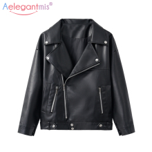Aelegantmis Biker Jacket Basic-Coat Moto Faux-Leather Classic PU Autumn Plus-Size Outerwear