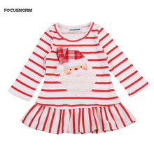 FOCUSNORM New Baby Girls Christmas Santa Claus Striped Little Girls Cute Casual Mini Dress Size 1-5T(China)