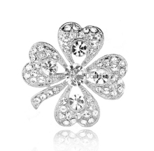 "1.4"" Silver Plated Austrian Crystal  Diamante Four Leaf Clover Brooch Pin"