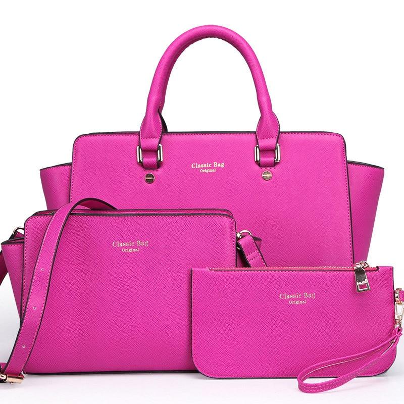 2017 New brand solid leather bag Korea handbag women medium big tote bags female crossbody bags for women handbag 3 sets<br>