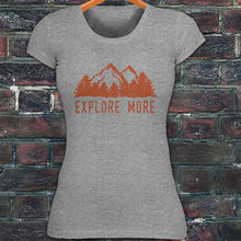 Design Tops Hot Sales Tee Shirts Explore More Mountains Outdoors Travel Camp Hike Womens Gray T-shirt