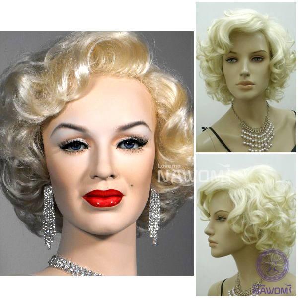 New 2014 Marilyn Monroe hair style /Free shipping 100% Kanekalon blonde curly womens wigs/synthetic short cosplay wig<br><br>Aliexpress