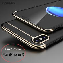 For iPhone X Case Vpower 3 in 1 Ultra Slim Case For Apple iPhone X Luxury PC Hard Plating Phone Back Cover For iPhoneX Shell(China)