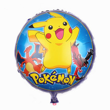XXPWJ Free Shipping 18nch Round Pikachu Aluminum Balloons Children Toy Party Decorative Birthday Balloon Wholesale I-027(China)