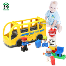 Baby Toy Building Blocks Set City Bus Blocks Size Bricks for Baby Learning Education Toys Blocks Compatible with lego