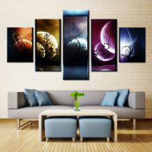 Forbeauty 5 Piece Canvas Painting Venus Jupiter Mars Planet Mercury Earh the Starry Sky Night Star
