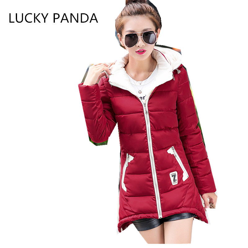 LUCKY PANDA 2016 WOMAN new winter jacket size fashion long slim hooded drawstring cotton dress  LKB208Îäåæäà è àêñåññóàðû<br><br>