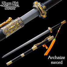 Chinese Longquan sword Damascus steel Folding Forging Two-color alloy Of ebony sheath Home decor collectibles(China)