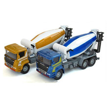 1:43 Alloy Diecast Metal & ABS Agitain Lorry Construction Vehicle Car Model Rolling Cement Tank Cars Toys For Collection Boys(China)