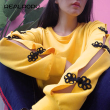 Realpopu 2017 O Neck Long Sleeve Loose Top Autumn Winter Pullovers Casual Button Yellow Basic Kawaii Hoodies Sweatshirt Women(China)