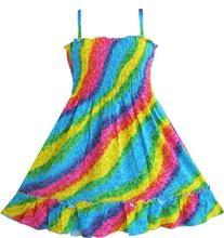 Girls Dress Rainbow Smocked Halter Children Clothing SZ 2017 Summer Princess Wedding Party Dresses Girl Clothes Size 2-10(China)
