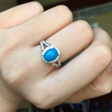 Haleigha 925 Sterling Silver Genuine Semi Gemstone Blue Turquoise White Gold Color Classic Simple Split Shank Classic Women Ring