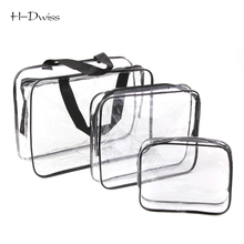 HDWISS 3pcs/set Environmental Protection PVC Transparent Cosmetic Bag Women Travel Make up Toiletry Bags Makeup Organizer Case