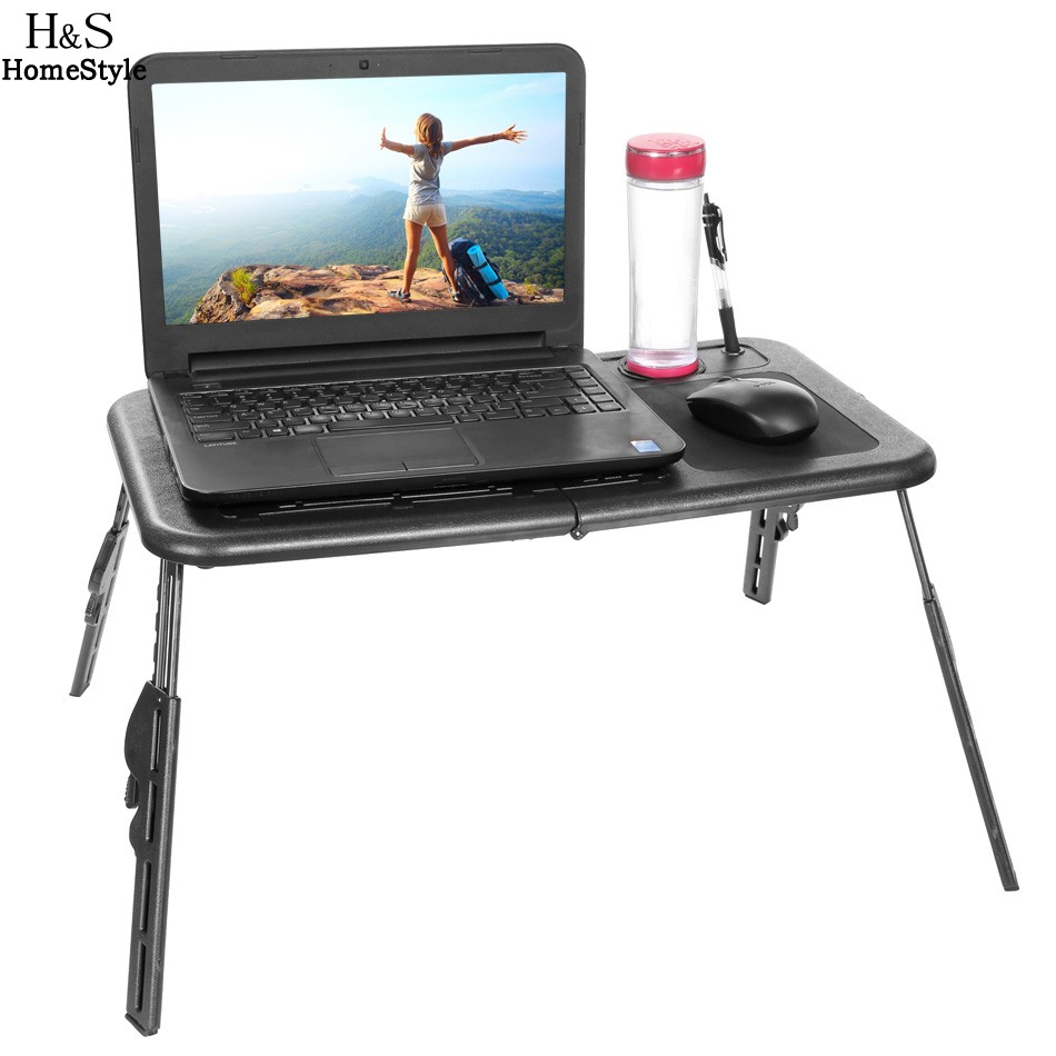 HOMDOX Laptop Stand Folding Portable Adjustable Laptop Table Bed Laptop Desk with 2 Cooling Fans + Mouse Pad<br>