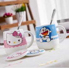 Cartoon Hello Kitty Doraemon Home Office Ceramic 500ML Coffee Milk Tea Mug Cup With Lid Spoon