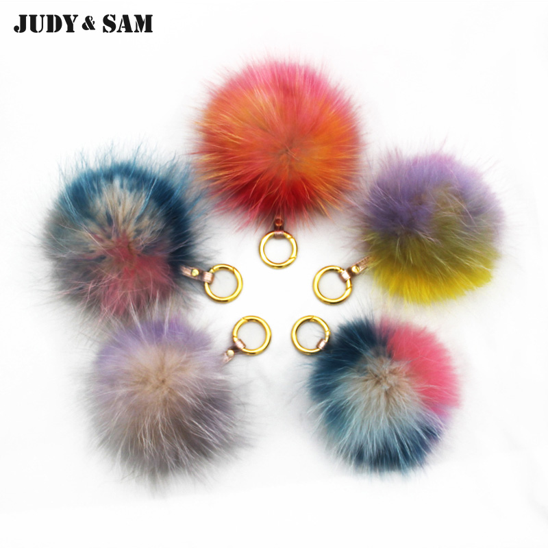 Amazing New Rainbow Color Fur Pompom Fashion Lady Bag Charm Fur Bag Accessories Fur Ball Women Accessory(China (Mainland))