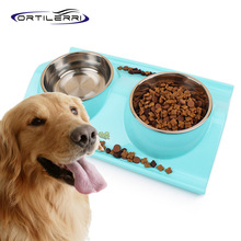 Ortilerri Stainless Steel Pet Dog Cat Bowl Double Bowl 2016 New Food Container Pink Blue Yellow Dog Food Bowl Pet Supplies(China)