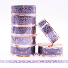 Silver Colored Patterns Lace Tapes DIY Crative Sticky Decorative Adhesive Masking Tape Home Decorative Supplies 1PCS(China)