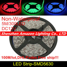 DHL 100M/LOT Waterproof 5M LED Strip 5630 (5730) SMD 60LEDs/M Flexible light tape DC 12V Red, Green, Blue, White, Warm White