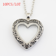 10PCS/LOT, Antique silver heart magnetics floating locket,with free 50-55cm chain FN0017(China)