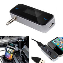 5V NEW-Details  LCD Displayer about Wireless Music to Car Radio FM Transmitter For 3.5mm MP3 iPod Phones Tablets