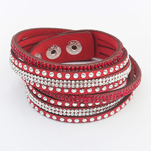 Multilayer Wrap Leather Bracelets Women Men Crystal PU Cuff Bangles Rhinestone Charm Europe Link Chain Wristbands Punk Jewelry(China)