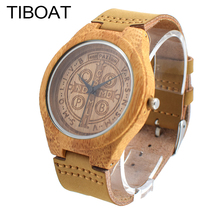 TIBOAT Handmade Bamboo Wooden Watch Made with Japanese Movement in Real Brown Leather Strap For Gift