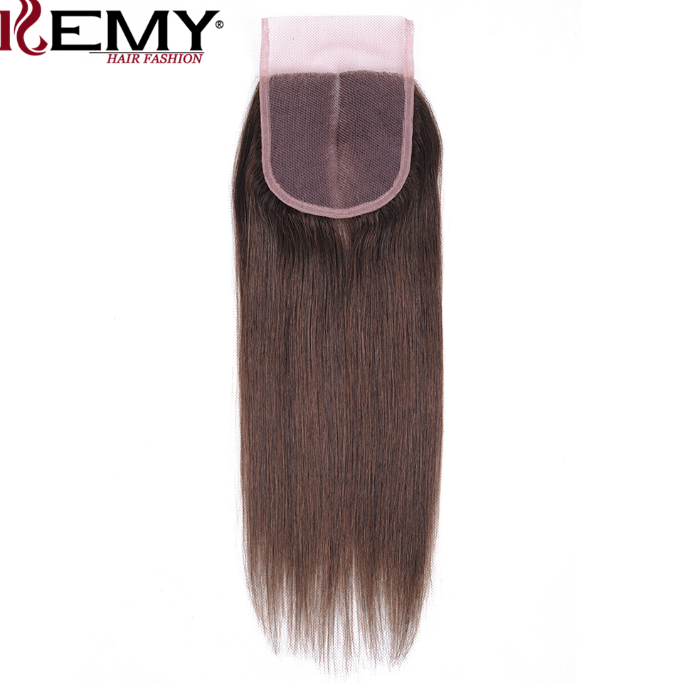 KEMY HAIR Pre-colored  Brazilian Straight Hair 3 Bundles With 4×4 Lace Frontal Non-Remy Human Hair Weave Medium Brown