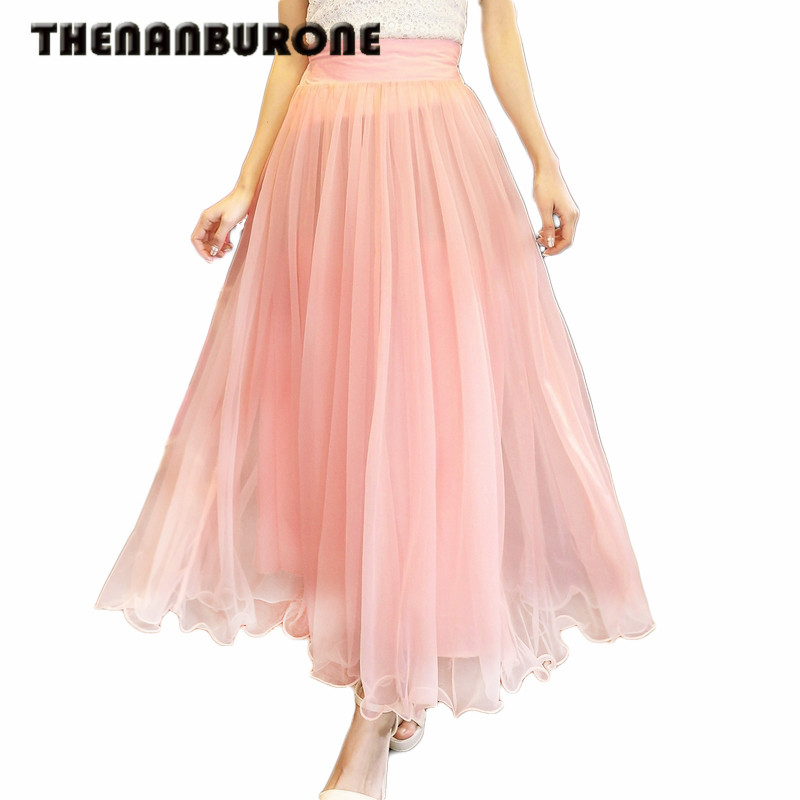 THENANBURONE Fashion Style 2017 New Women Sexy Chiffon Long Skirt 9 Colors Nice Design Hot Selling Skirts Women Pleated Skirts(China (Mainland))