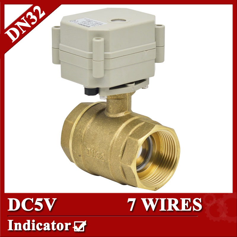 1 1/4 2 way brass electric ball valve, 7 wires electric control valve, DN32 Electric Actuated valve with indicator<br><br>Aliexpress