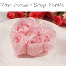 Free Shipping 30pcs=5boxes/lot Rose Flower Soap Favors Rose Paper Soap with Charm Bath Body Soap Rose Petals Wedding Favors(China)